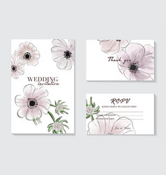 botanical anemones wedding invitation card vector image