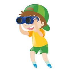 boy looking through binoculars vector image
