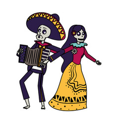 Catrina and mariachi playing accordion couple vector