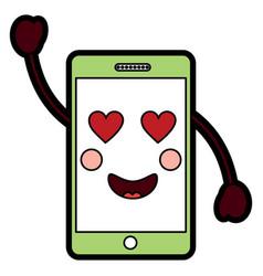 Cellphone heart eyes kawaii icon ima vector