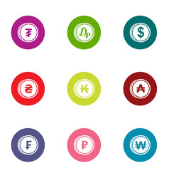 Cent icons set flat style vector
