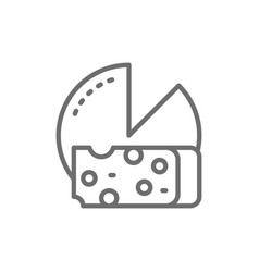cheese wheel with slice line icon vector image