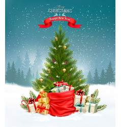christmas holiday background with a tree and a vector image