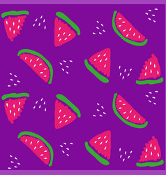 chunks of watermelon on a purple background vector image