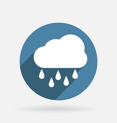 Cloud rain Circle blue icon vector
