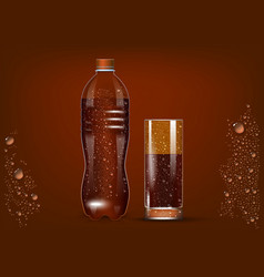 cola bottle and glass vector image