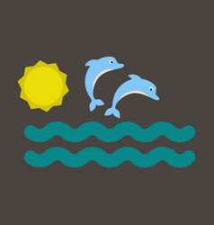 collection jumping two dolphins and swimming vector image