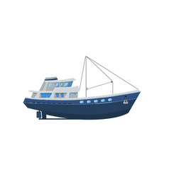 Commercial fishing boat isolated on white icon vector
