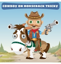 Cowboy rider on horseback tricky on a Wild West vector