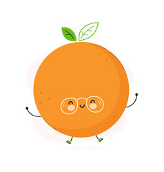 cute funny orange fruit character hand vector image