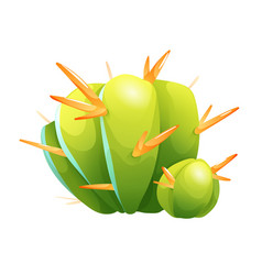 Cute green cactus with orange thorns vector