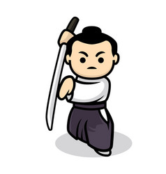 cute samurai vector image
