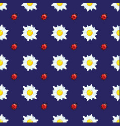 daisies and ladybugs on blue vector image