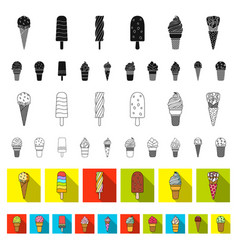 different ice cream flat icons in set collection vector image