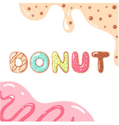 donut font on white background vector image