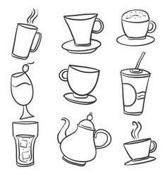 doodle of various drink hand draw vector image