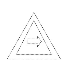 Dotted shape triangle warning notices with turn vector