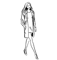 Fashion of walking woman vector