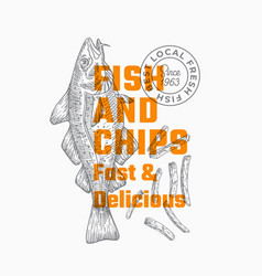 Fast and delicious fish and chips abstract vector