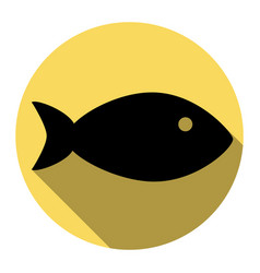fish sign flat black icon vector image