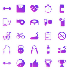 fitness gradient icons on white background vector image