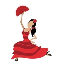 Flamenco dancer girl cartoon icon vector image