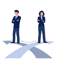 Gender difference concept woman and man business vector