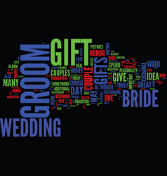 Gift ideas for the bride to give to the groom vector