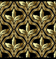 gold baroque 3d seamless pttern textured vector image