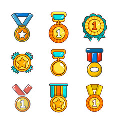 gold medal icon set cartoon style vector image