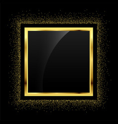 Golden glitter empty frame background vector
