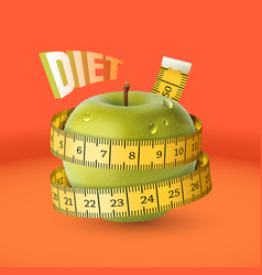 green fresh apple with yellow measuring tape diet vector image