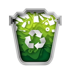 green trash can with plastic garbage paper vector image