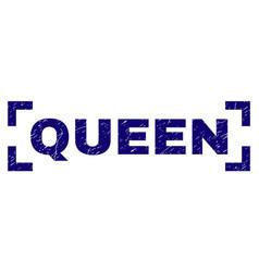 grunge textured queen stamp seal between corners vector image