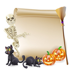 Halloween skeleton scroll banner vector