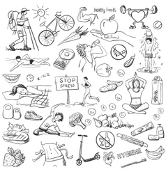 Hand drawn about healthy lifestyle on white vector
