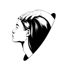 hand drawn female heads vector image