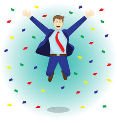 happy jumping businessman among colorful papers vector image