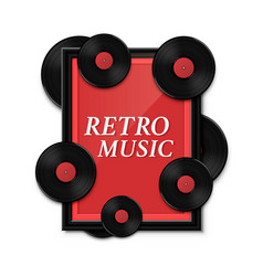 Hit vinyl in frame on wall collection disc retro vector
