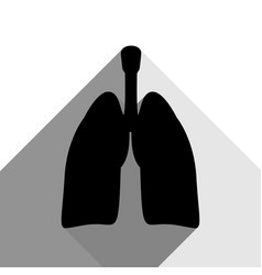 human anatomy lungs sign black icon with vector image
