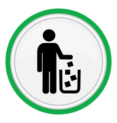 Icon man throws garbage in the cart vector image