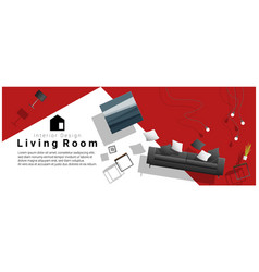 Interior banner sale with living room furniture vector