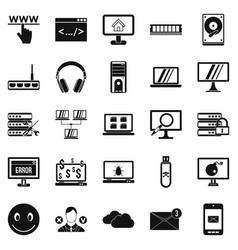 Internet icons set simple style vector