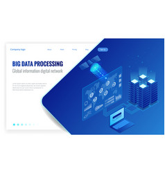 isometric big data processing global information vector image