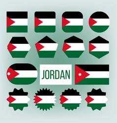 jordan various shapes national flags set vector image