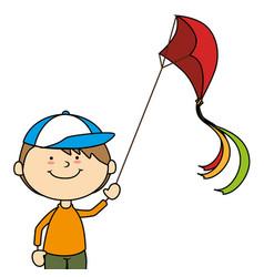 Kid flying kite icon vector