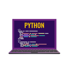 Laptop with a code computer language python vector