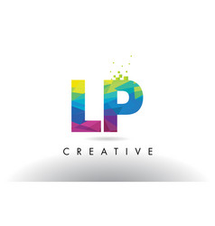 Lp l p colorful letter origami triangles design vector
