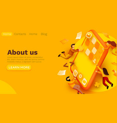 Modern banner template with tiny people and giant vector