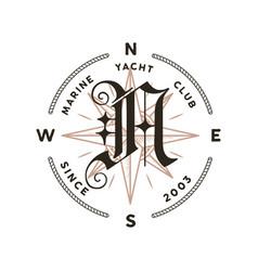 monogram logo design classic - marine vector image